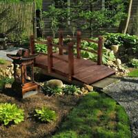 4.9' Wooden Bridge Stained Finish Decorative Solid Wood Garden Pond Arch Walkway