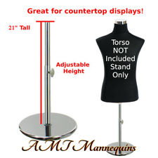 Round adjustable stands for male female half body torso, Metal Chrome stand- Pr