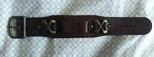 Vintage NOS GLOVE leather 18MM brown watch strap, cowboy, embossed, large 4cm