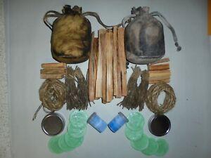 Double fire kit oil skin waxed cotton pouch bag bushcraft survival waterproof