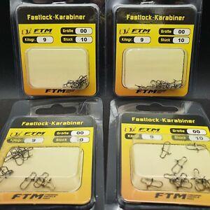 5 Packung FTM Tubertini Fastlock-Karabiner Snap  Einhänger Size 00 9kg UL Trout