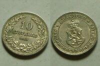 BULGARIA 10 STOTINKI 1913 KING FERDINAND I EUROPE wreath crown lion STANDARD