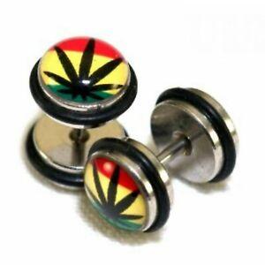 Earring Rasta Pot Leaf Logo Fake Illusion Ear Plug Cheater Tunnel Earring Studs