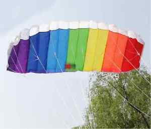 Kite 120cm MULTICOLOUR Frameless Parafoil Stunt Sport Kite Twin Dual Line TY9891