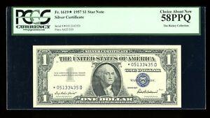 DBR 1957 $1 Silver STAR Rare *D Block Fr. 1619* PCGS 58 PPQ Serial *05133435D