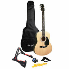 Full Size 39 Inch Acoustic Guitar Bundle with Stand and Case in Hi-gloss Finish