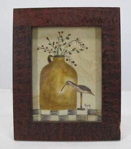 Ann Rea Heritage Theorem Painting Primitive Crock w/Bird Shorebird Decoy #1 yqz