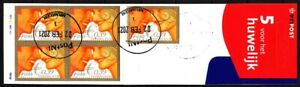 NETHERLANDS 2001 Wedding Greeting Stamp, Dual currency. BOOKLET of 5v, Used