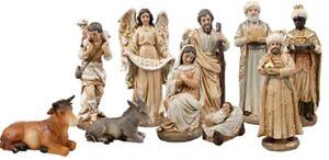 "Christmas Traditional Nativity Set Christmas Ornament 10 Figures Made Italy 6"""