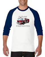 Gildan Raglan T-shirt 3/4 Sleeve Firefighter Fire Truck Fireman Future