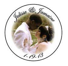 """(24) Wedding Anniversary Photo Stickers/Glossy Favor Labels (1.67"""" Round)"""