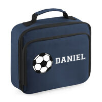 Custom Name Football Lunch Bag - Personalised Kids Cooler School Dinner Box Gift
