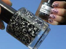 NEW! LAQUERLICIOUS Indie nail polish lacquer ZEBRA KISSES - Black White Shredded