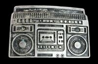Boombox Radio Belt Buckle Pewter Tone Huge Stereo Music