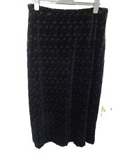❤ Vintage LAURA ASHLEY Size 18 Black Silk Blend Floral Embroidered Long Skirt