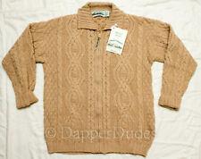 NWT! ARAN CRAFTS Full Zip Irish Merino Wool Fisherman Cardigan Sweater-Small-Tan