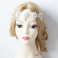 Women White Punk Gothic Elastic Flower Headband Princess Crown Halloween Pendant