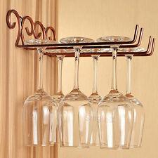 2Rows Wall Mount Stemware Hanging Wine Glass Rack holder hanger Bar Dining Shelf