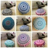 Indian Handmade Floor Round Home Decor Pillow Mandala Pom Pom Cushion Cover 32""