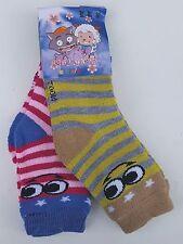 GIRLS BOYS 2 Pair Ankle Socks Twin Pack Stripey Pink Grey Blue Infant 4-8