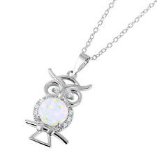 Sterling Silver Rhodium Plated Necklace w/ Opal & CZ Stones OWL Pendant