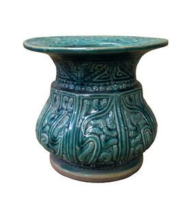 Chinese Vintage Dark Green Glaze Round Ceramic Jar cs2380
