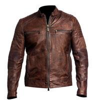 Men's Biker Vintage Motorcycle Cafe Racer Brown Distressed Leather Jacket Coat