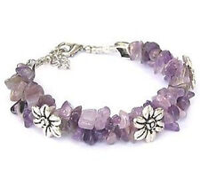 Fashion Tibetan silver woman Amethyst chip bead bracelet jewelry bangle