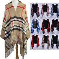 Oversized Plaid Check Blanket 100% Cashmere Scarf Shawl Wrap Warm Winter Scarves