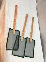 Vtg Wood Handle Wire flyswatter lot of 3 Advertise  Funeral Ambulance Furniture