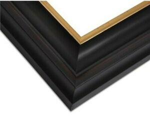 "3"" Black With Gold Lip Wood Custom Picture Frame Ornate 733Bk"