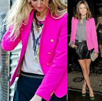 RARE ZARA HOT PINK BOYFRIEND BLAZER WITH GOLD BUTTONS JACKET COAT SMALL - S