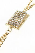 Front, Gold or Silver (Fits 0-8) Ladies, Body Chain Necklace Rhinestone Charm