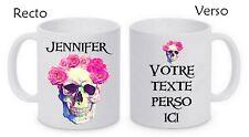 Mug (tasse) céramique Tête de mort Skull personnalisé avec prénom et message