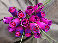 Roses Bouquet Wooden Flowers Wood Artificial Birthday Purple, Pink Purple