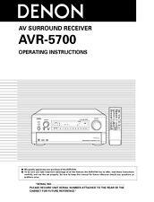 Denon AVR-5700 AV Receiver Owners Manual