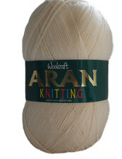 WOOLCRAFT Acrylic Aran Knitting Wool 400g Cream
