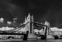 Tower Bridge Thames River in London England UK Black and White Photo Art Print P