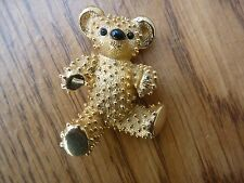 Vintage Signed Boucher Textured Teddy Bear Brooch Pin Black Enamel Eyes Nose