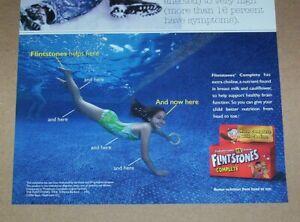 2006 print ad -Flintstones kids vitamins Little Girl underwater pool Advertising