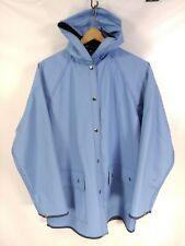 VINTAGE Lady Van Huesen Raincoat Sz L Rain Slicker Light Blue Lined DUCKS