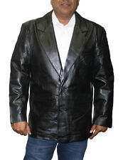 MEN'S BLAZER JACKET COW HIDE LEATHER BLACK&BROWN GREAT PRICE Style# LK118