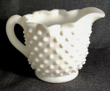 Fenton Milk Glass Hobnail Crimped Creamer