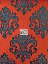 Reversible Damask Chenille Jacquard Drapery Upholstery Fabric - Crimson - Sofa