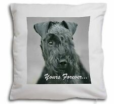 More details for kerry blue terrier 'yours forever' soft velvet feel cushion cover w, ad-kb1y-cpw