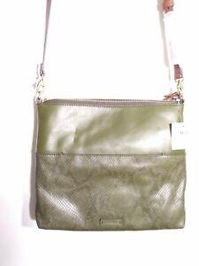 NEW Fossil Women's Fiona Leather Large Crossbody Handbag Green Olive Ships Free