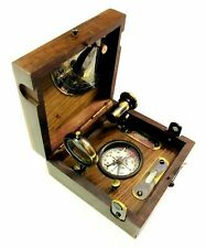 Nautical Brass Marine Box & Antique Compass Telescope Magnifying Glass in Wooden