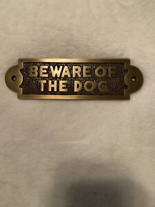 Brass Beware Of The Dog Warning Security Hanging Sign Plaque Brass Colored