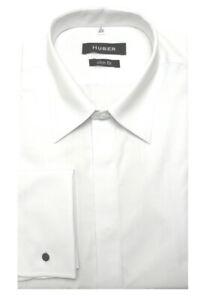 HUBER Umschlag-Manschetten Hemd weiß Slim Fit -schmales Hemd HU-0361 Made in EU