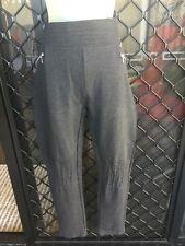 Rockmans Women's Pants - Dark Grey Casual Elastic Waist, Zipper Deco - Size L
